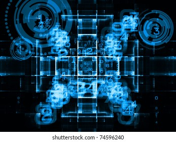 Interplay of digital symbols and abstract forms on the subject of artificial intelligence, computing, data processing, science and technology
