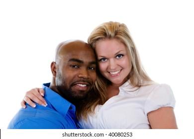 An interracial couple.