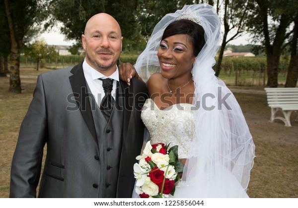 African American Wedding.Interracial Couple African American Couple Wedding Stock Photo Edit