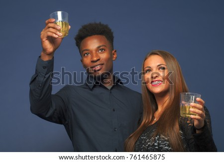 interracial couple drinking beer or wine happy young people cocktail party
