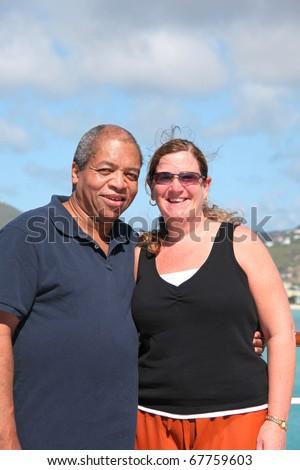 Interracial vacation photos