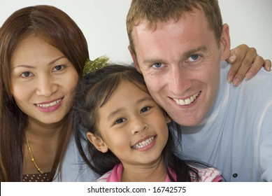 Interracial family of mixed ethnicity