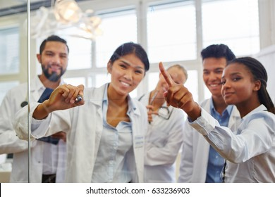 Interracial group of medical school students in study group