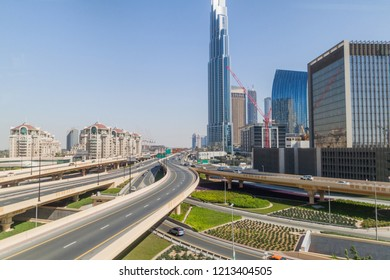 Intersection of Al Safa street and Sheikh Zayed road in Dubai, United Arab Emirates.