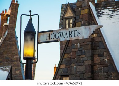 The intersection of Hogwarts and Hogsmeade in Wizarding World at Universal Island of Adventure in Orlando.