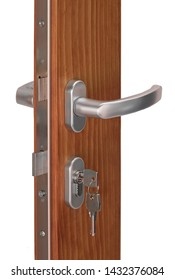 Intersection of open wooden door with metal handle and keys inside keyhole