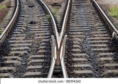 The intersection of railroad tracks
