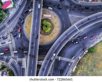 Intersection Road Aerial photography from drone camera in bird view