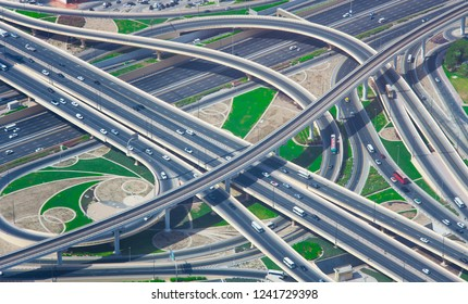 intersection of roads in Dubai city, United Arab Emirates. aerial view