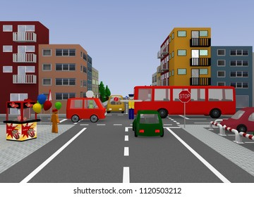 Intersection with traffic control by a police officer. 3d rendering