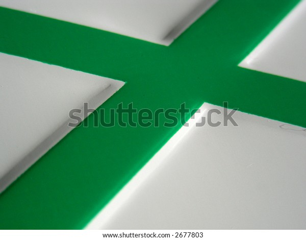 Intersection of two green lines in metal