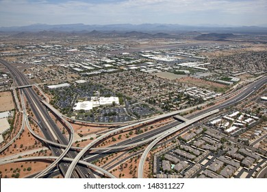 Interstate 17 and Loop 101 interchange with Deer Valley Airport in the distance