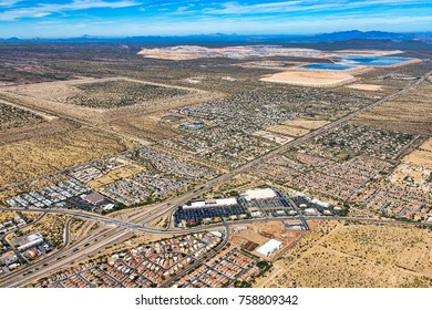 Interstate 19 aerial view south of Tucson, Arizona near the communities of Green Valley and Sahuarita