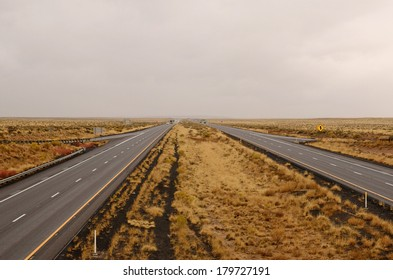 Interstate 40 follows the original Route 66 through the high desert of northeastern Arizona as a rain storm rolls through