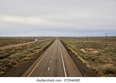 Interstate 40 running through Petrified Forest National Park Arizona USA