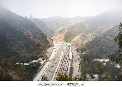 Interstate 405 Freeway near Brentwood, aerial view