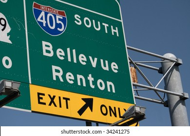 Interstate 405 South Bellevue Renton Exit part of the highway system in Washington State near Seattle.