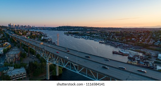 Interstate 5 Seattle Bridge Aerial Overview of City