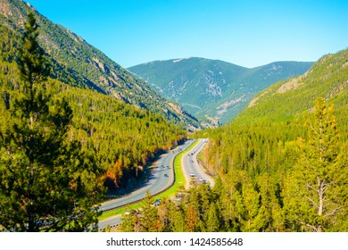 Interstate 70 (I-70) in the Rocky Mountains of Colorado on a Sunny Day