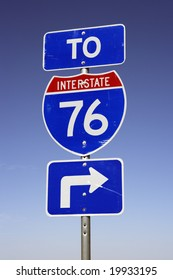Interstate 76 freeway sign in Colorado, USA.