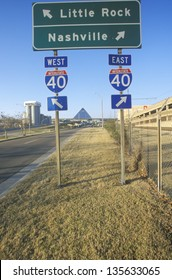 Interstate Highway 75 North and South Freeway signs to Nashville or Little Rock
