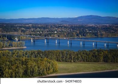 Interstate Highway bridge crossing over Columbia River.  Beautiful view of Oregon, Washington border crossing.