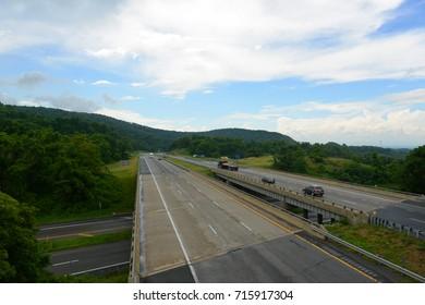 Interstate Highway I-64 Rockfish Gap near the south entrance of Shenandoah National Park in Virginia, USA.