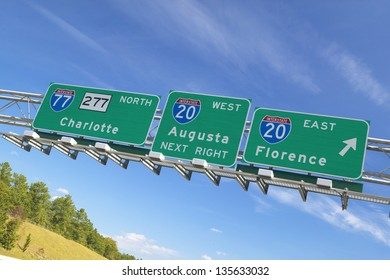 Interstate Highway Signs to Florence and Augusta Georgia at Intersection of Interstate 20 and 77 in Southeast of USA