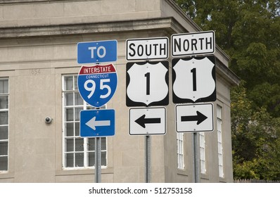 Interstate and highway signs in Mystic Connecticut USA October 2016 - Road signs for the 95 Interstate and highway 1 south and north bound