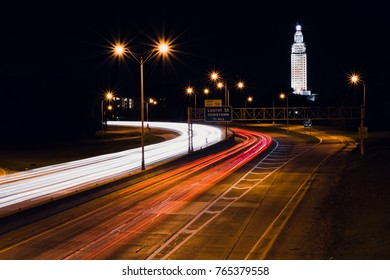 interstate light trails in Baton Rouge