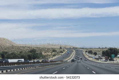 Interstate-10 highway in Palm Springs with Wind Mills Electric Power Stations