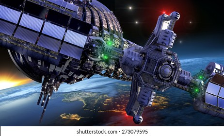 Interstellar spaceship with dome core and gravitation wheel, near Earth like planet, for futuristic or fantasy backgrounds