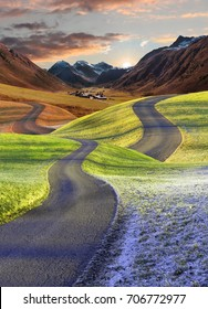 intertwined roads, four seasons fantasy landscape. Merge into autumnal mountain landscape.