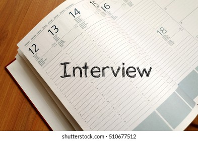 Interview text concept write on notebook