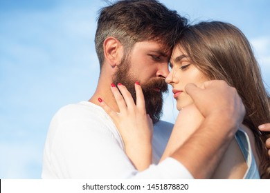 Intimacy and tenderness in love. Intimate moments for happy lovers. Young lovers couple. Happy couple in love having fun. Sensual kiss. Sensual couple getting closer to feel each others lips