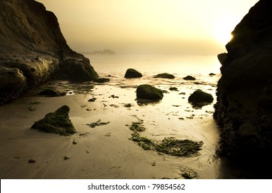 Intimate view of Half Moon Bay at dawn