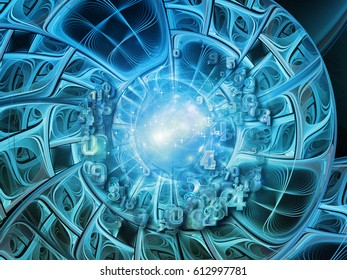 Into Infinity series. Backdrop of fractal patterns, curves and symbols on the subject of math, technology, science and education