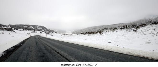 Into Kosciuszko National Park road in winter - Australia