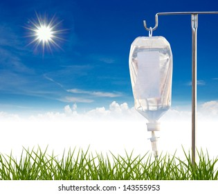 Intra venous fuid with stand with nature background.