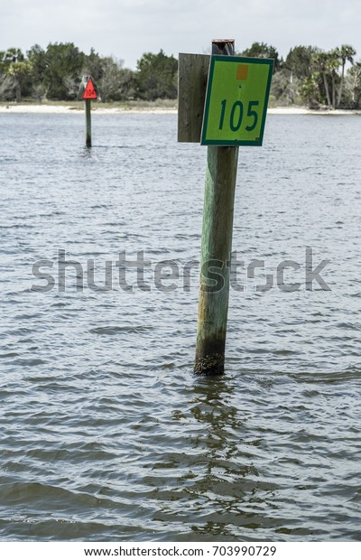 Intracoastal Waterway Channel Markers Stock Photo (Edit Now