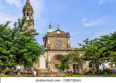 Intramuros, Manila, Philippines - July 29, 2018: View Of The Minor Basilica and Metropolitan Cathedral of the Immaculate Conception