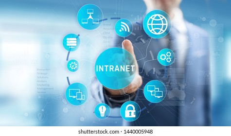Intranet Business Corporate communication document management system dms. Privacy cybersecurity technology concept on virtual screen.