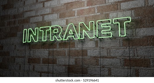 INTRANET - Glowing Neon Sign on stonework wall - 3D rendered royalty free stock illustration.  Can be used for online banner ads and direct mailers.