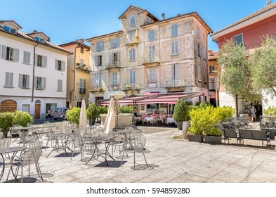 Intra-Verbania, Piedmont, Italy - July 14, 2016: People enjoying a street bar in center of Intra at overlooking the Lake Maggiore, Italy