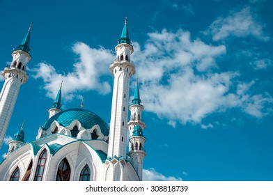 Intresting view of the Kul Sharif (Qolsherif, Kol Sharif, Qol Sharif, Qolsarif) Mosque in Kazan Kremlin. One of the largest mosques in Russia. UNESCO World Heritage Site. Kazan, Tatarstan, Russia.