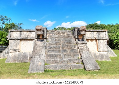 Intricate ancient Mayan art carvings on the Platform of the Eagles and Jaguars depict those animals gruesomely grabbing human hearts in their claws. The platform was part of a temple at Chichen Itza.