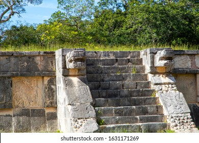 Intricate ancient Mayan art carvings on the Platform of the Eagles and Jaguars depict those animals gruesomely grabbing human hearts in their claws. It was part of a temple found at Chichen Itza.