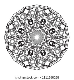 Intricate art deco style mandala with bowsprit style mermaid features.