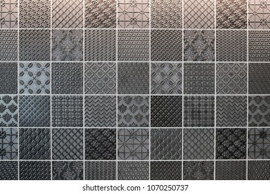 Intricate black and white mosaic tiled design