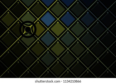 Intricate blue and green abstract shiny diamond / disc pattern (3D illustration, black background)